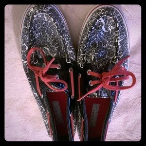 Sperry Sz 9 Black and Red Loafers